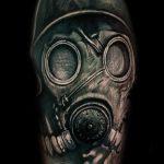 Gasmasken Tattoo von Alex, Peckstage