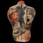 Trash Polka Portrait Tattoo von Benji, Peckstage