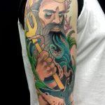 Poseidon Tattoo von Manny, Peckstage