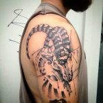 Steinbock Tattoo von Rene, Peckstage